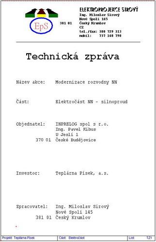 Technická zpráva elektroinstalace vzor